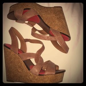 Brown leather wedges sz 9